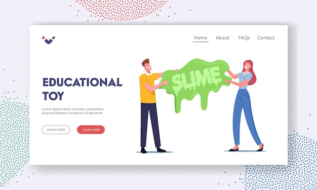Educational handgum toy landing page template. people having fun making slime. tiny characters holding huge homemade gooey dripping slime, hobby, relax and recreation. cartoon vector illustration