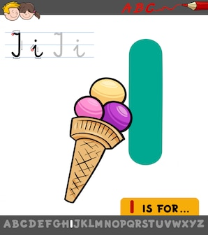 Educational illustration of letter i with ice cream