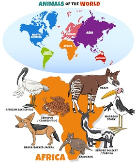 Educational illustration with african animals and continents map