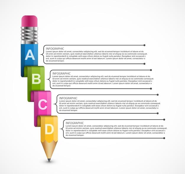 鉛筆で教育インフォグラフィックテンプレート