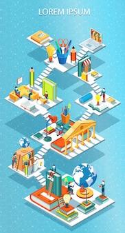 Educational isometric concept  illustration