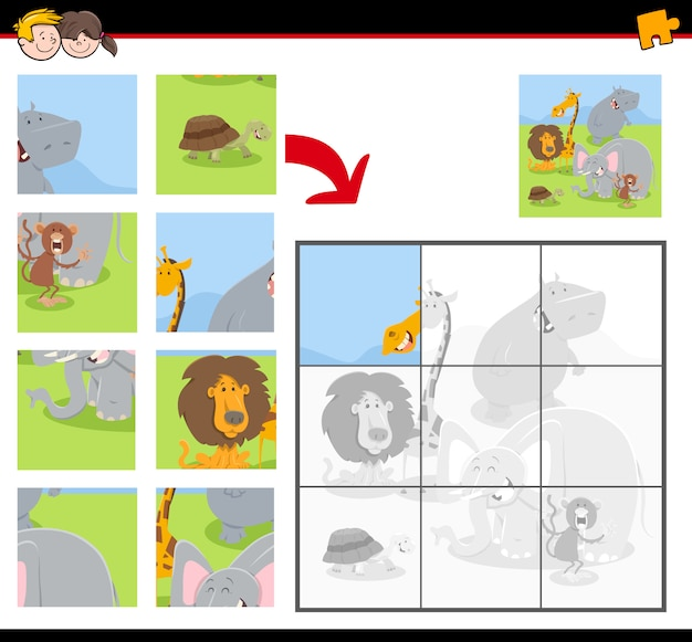 Educational jigsaw puzzle game with animals