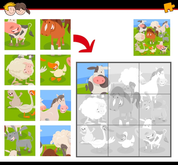 Educational jigsaw puzzle game with farm animals