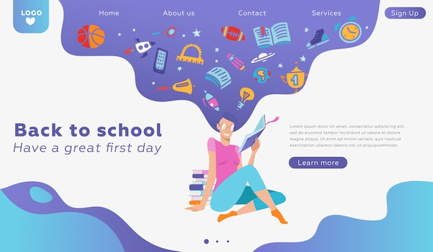 Educational landing page concept template about love to reading. vector lovely woman character portrait, holding paper book in hands. school supplies in thoughts. back to school