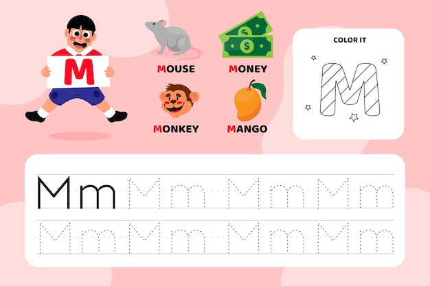 Educational letter m worksheet with illustrations