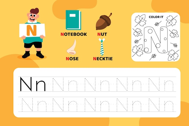 Educational letter n worksheet with illustrations