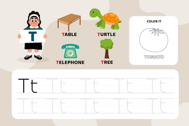 Educational letter t worksheet with illustrations