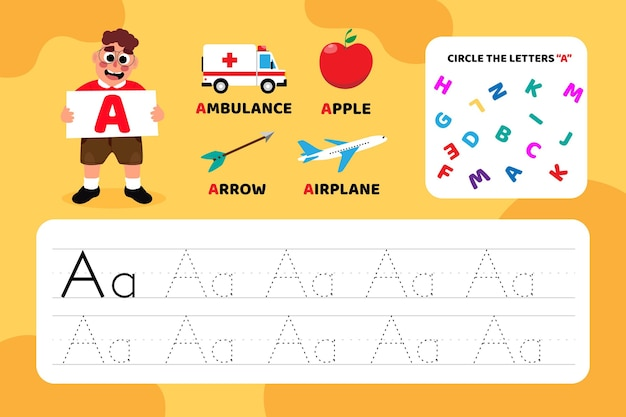 Educational letter a worksheet with illustrations