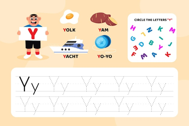 Educational letter y worksheet with illustrations