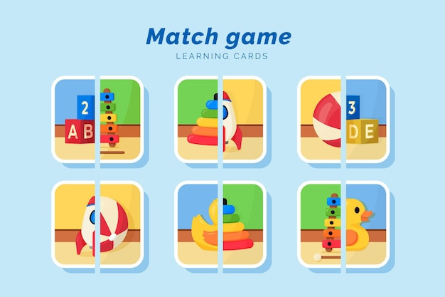 おもちゃを持った子供のための教育的なマッチゲーム