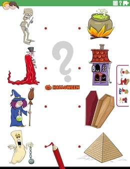 不気味なハロウィーンのキャラクターを持つ子供のための教育マッチングゲーム