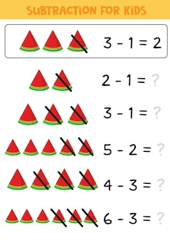 Educational math children game, subtraction with watermelon