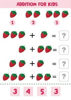 Educational math children game with strawberry for kids.