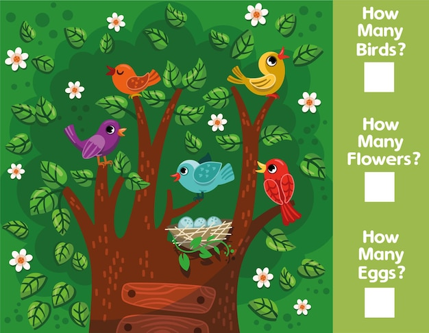Educational mathematical game for children how many birds flowers eggs can you count