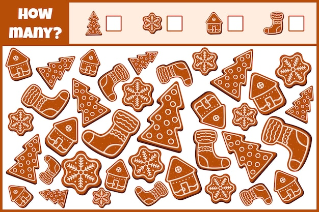 Educational mathematical game. count the number of  christmas gingerbreads.