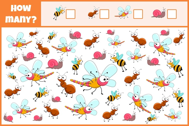 Educational mathematical game. count the number of insects.