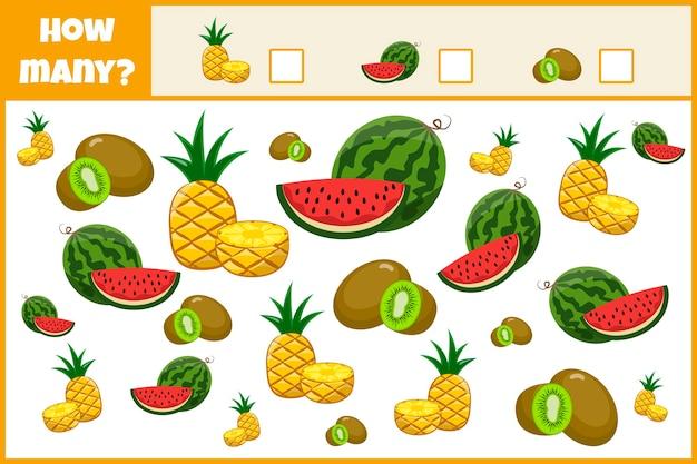 Образовательная математическая игра. подсчитайте количество фруктов. посчитайте, сколько плодов человек. счетная игра для детей.