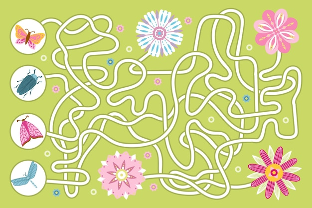 Educational maze for children with insects and flowers