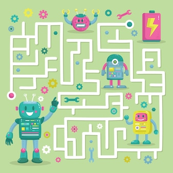 Educational maze for children with robots