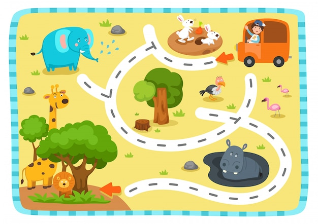 Educational maze game for children illustration