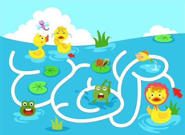 Educational maze game for children illustration