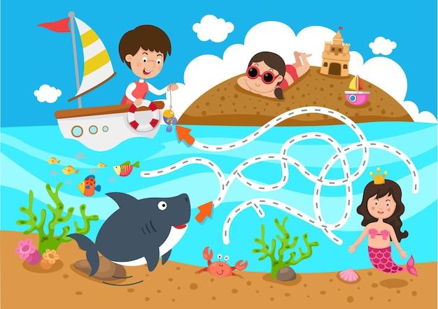 Educational maze game for children illustration Premium Vector