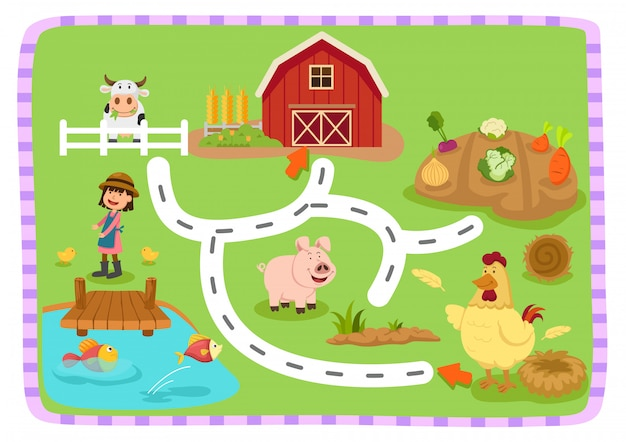 Развивающая игра лабиринт для детей иллюстрация