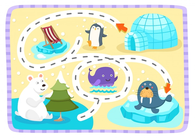 子供のイラストのための教育用迷路ゲーム