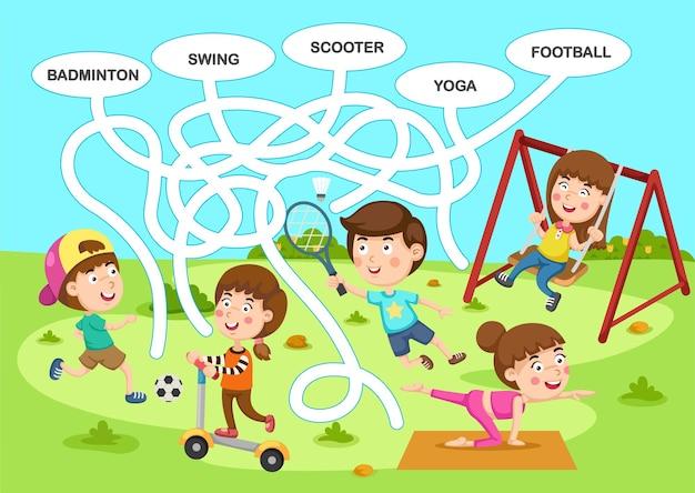 子供イラストの教育迷路ゲーム