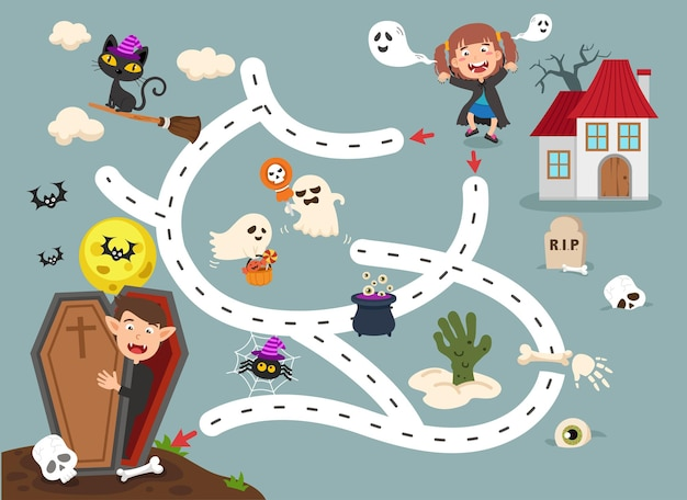어린이 그림을 위한 교육 미로 게임