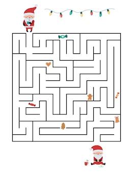 Развивающая игра-лабиринт для детей. помогите санте найти верный путь, соберите все пряники и сладости.