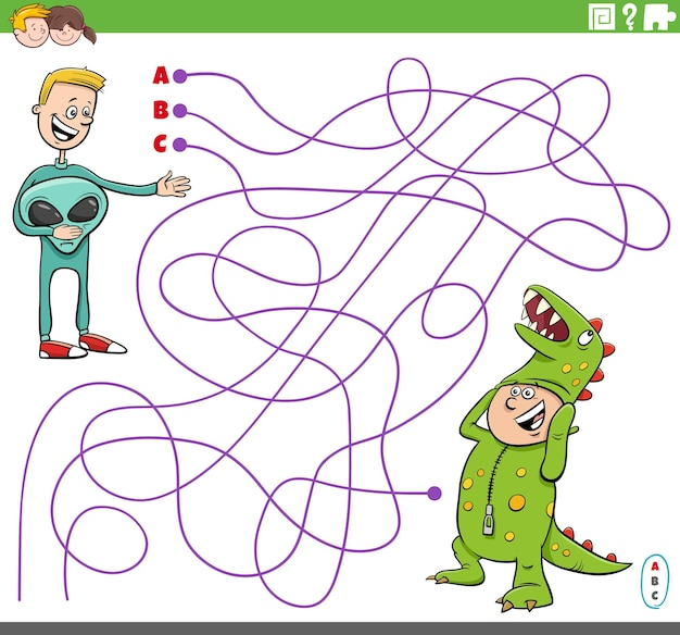 Развивающая игра-лабиринт с мультяшными мальчиками в костюмах