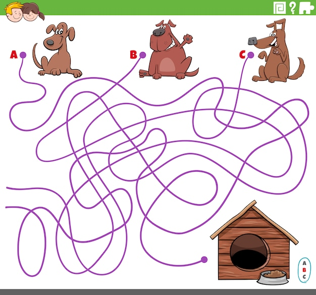 Educational maze game with cartoon dogs characters