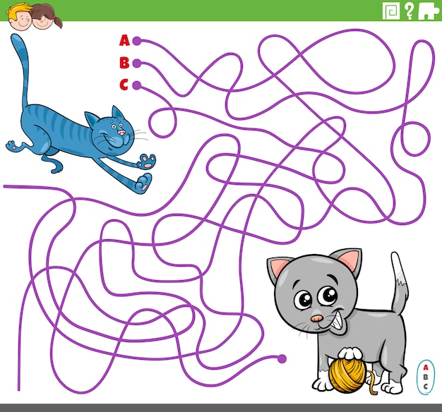 만화 장난 고양이와 교육 미로 게임