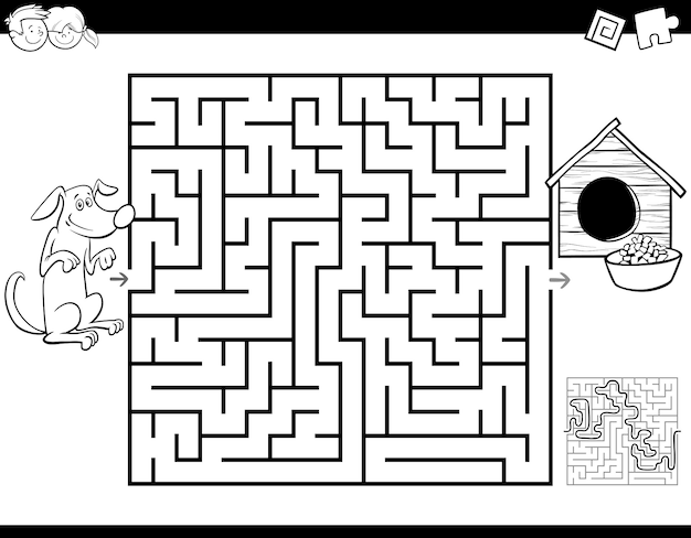 Educational maze game with dog and doghouse