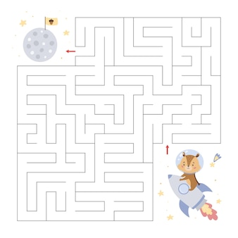 Educational maze with a  little chipmunk on rocket