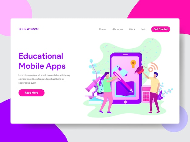 Educational mobile apps illustration for web pages