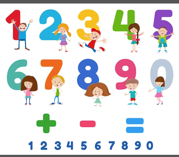 Educational numbers set with funny children characters