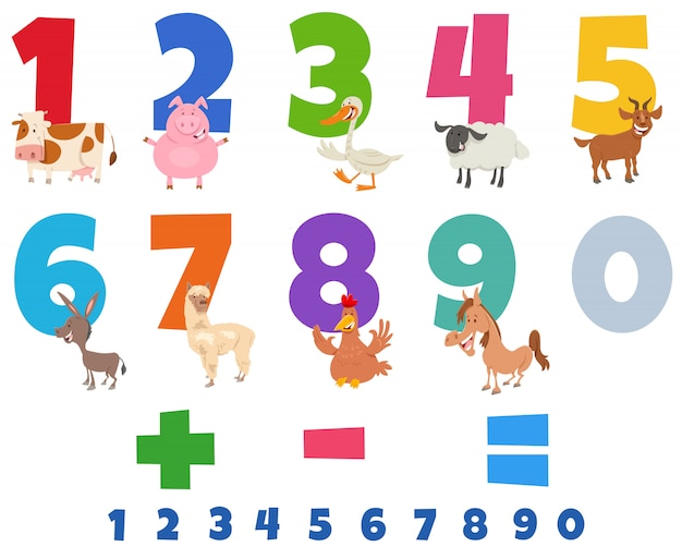 Educational numbers set with funny farm animals