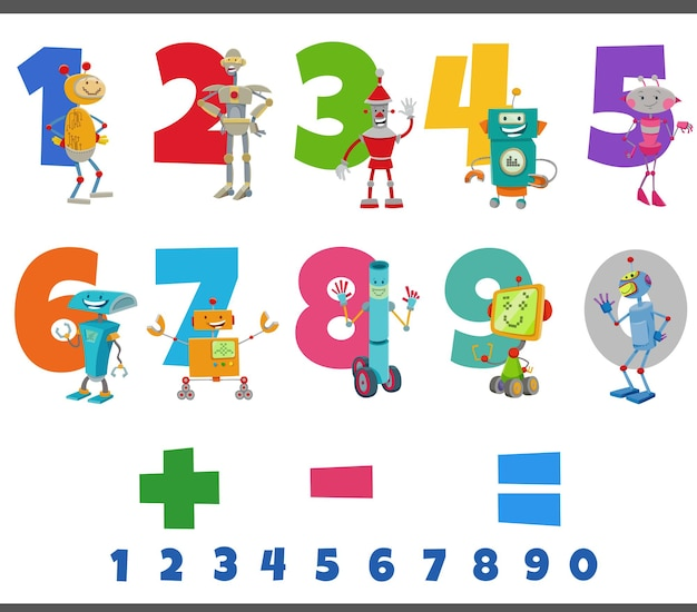Educational numbers set with funny robots characters
