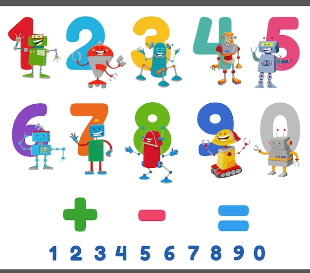 Educational numbers set with happy robots characters