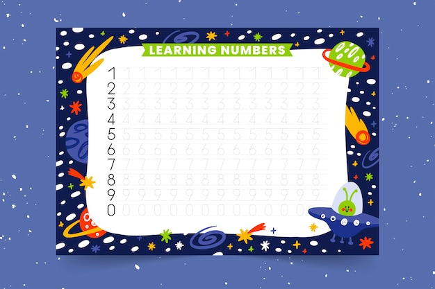 Educational numbers tracing template for kids