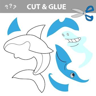 Развивающая бумажная игра для детей. вырежьте и приклейте мультяшную акулу. рабочий лист. векторная иллюстрация