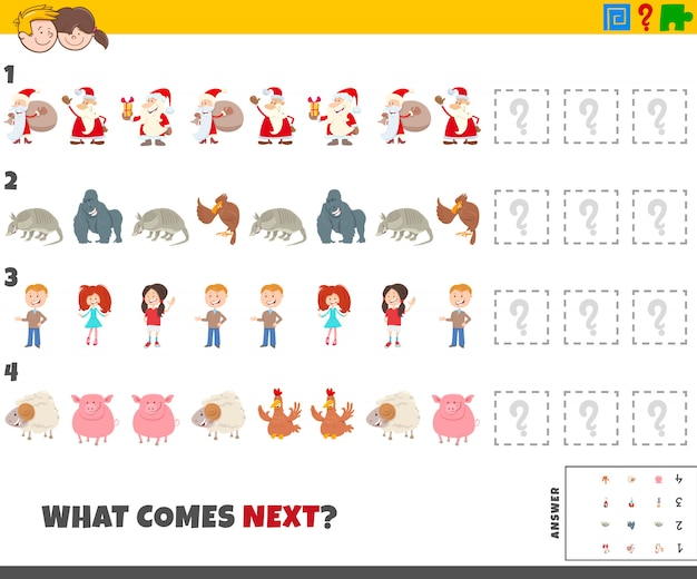 Educational pattern game for children with cartoon characters