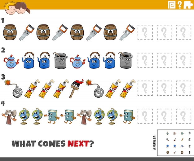 Educational pattern task for kids with cartoon objects