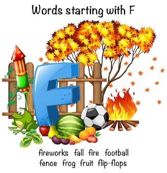 Educational poster design for words starting with f
