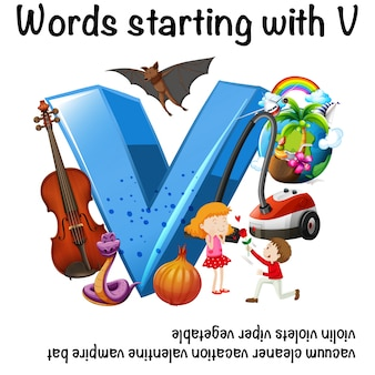Educational poster for words starting with v
