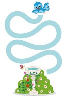 Educational practice maze game for preschool children vector illustration