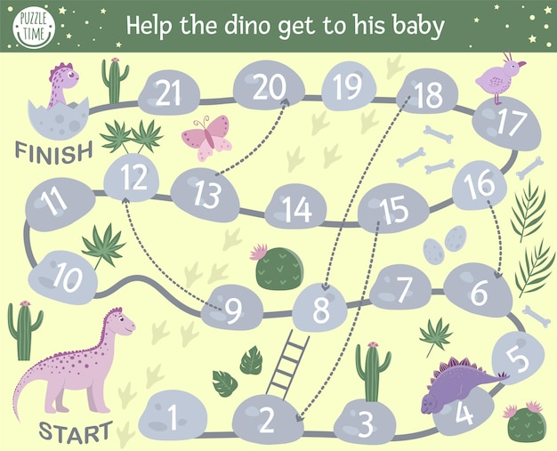 Educational prehistoric boardgame with reptiles, stones, cactus. help the dino get to his baby. dinosaur themed board game for children.