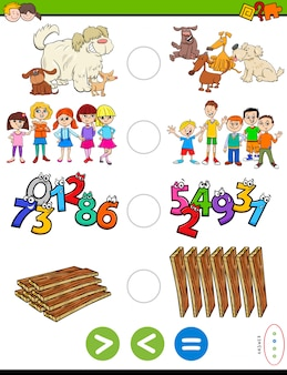 Educational puzzle of greater, less or equal